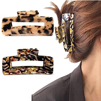 Women Large Hair Claw Tortoise Shell Celluloid Hair Jaw Clips French Design