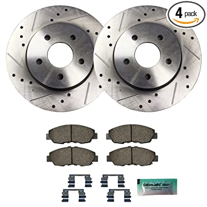 Detroit Axle - Drilled & Slotted Front Brake Rotor Set & Brake Pads w/Clips