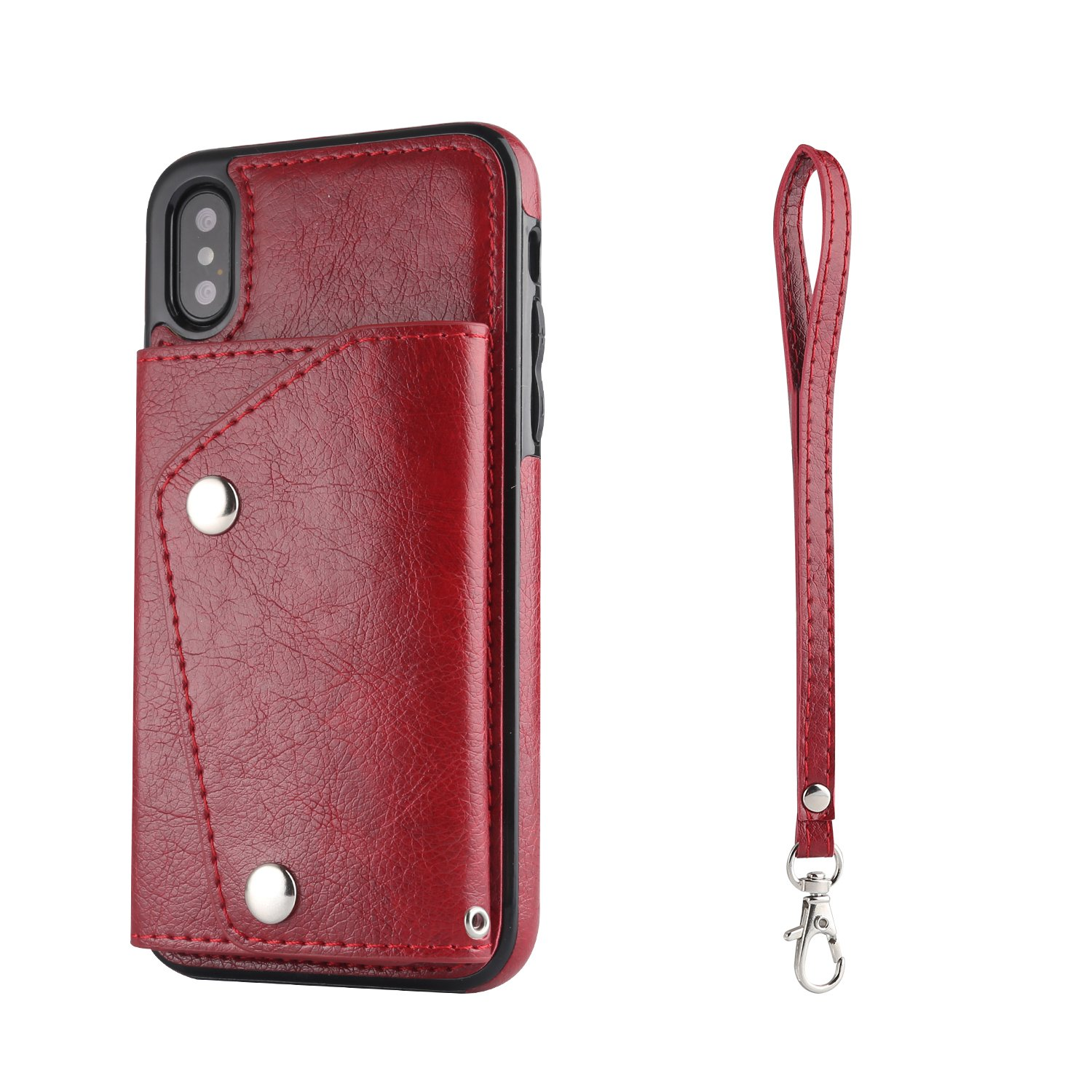 Gostyle iPhone XR Flip Wallet Case, iPhone XR Case with Credit Card Slots, Fashion Multifunction Premium PU Leather Cover with Kickstand Cash Pocket Hand Strap Shockproof Cover, Brown