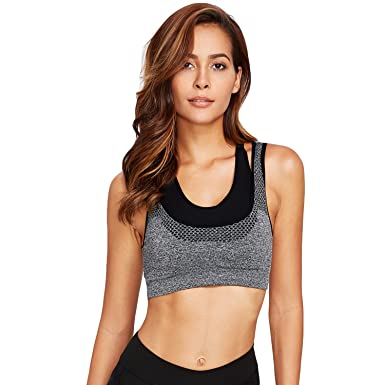 8b80aee711 GRAPPLE DEALS Women s Cotton Underwire Padded Seamless Sports Bras  (1516 Grey01