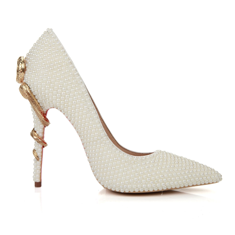 Mode Perle wies Metall leichte Metall wies Schlange mit sexy Damen high heels Weiß 79526e