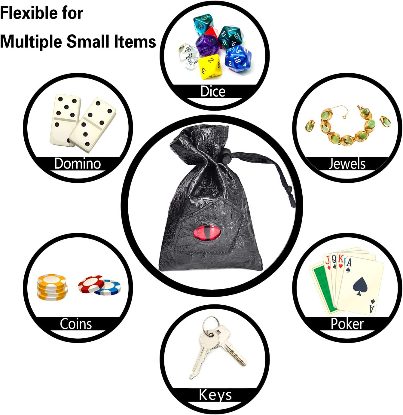 Game Drawstring Bag PU Leather Dice Sack Perfect for RPG D/&D
