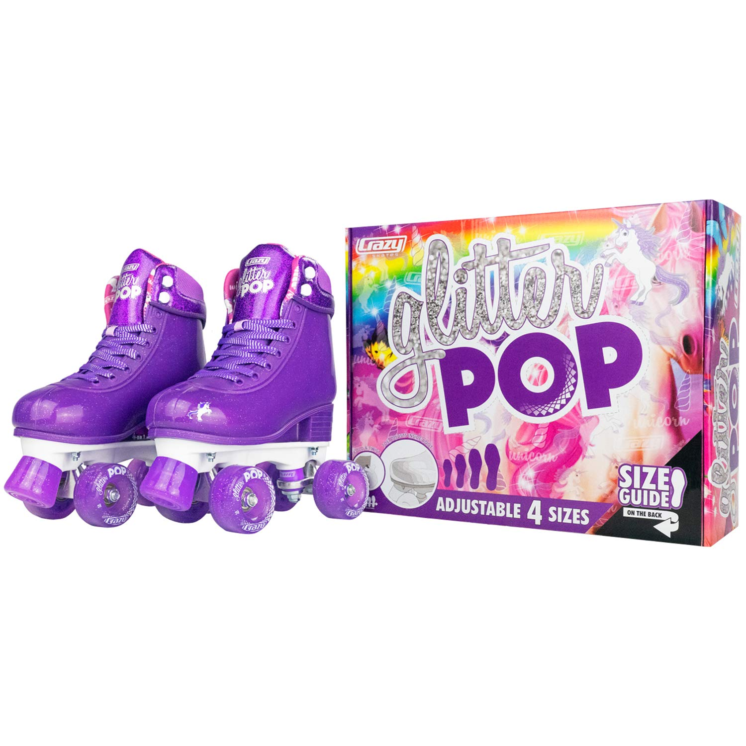 Crazy Skates Glitter POP Adjustable Roller Skates for Girls and Boys | Size Adjustable Quad Skates That Fit 4 Shoe Sizes | Purple (Sizes 3-6) by Crazy Skates (Image #5)