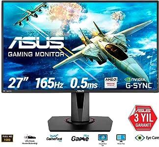 ASUS VG278Q 27 inch Full HD 1080p 144Hz 1ms DP HDMI DVI Eye Care Gaming Monitor with FreeSync & Adaptive Sync