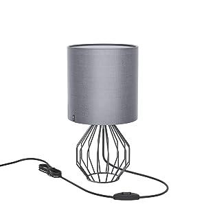 Lampe de table, Chevet minimaliste Plastique Lampe de bureau, Aglaia moderne Argent chromé 1Panier métallique style cage en tissu et argent avec un Ombre et 4W LED Lampe [Blanc chaud]