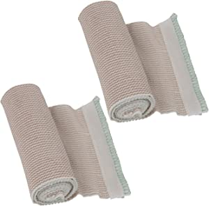 "Houseables Elastic Bandage Wrap, Compressions Bandages with Hook & Loop, 13' – 15' Stretched, 2 Pack, Beige, 6"" Width, Cotton, Wide Surgical Wraps for Leg, Knee, Sprain, Wrist, Chest, Body, Medical"