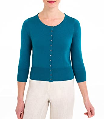 Womens Silk and Cotton Cropped Crew Neck Cardigan Teal, XL: Amazon ...