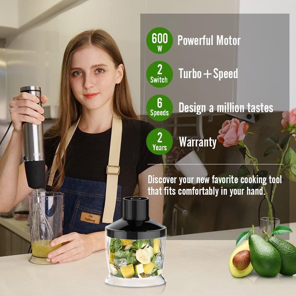 KOIOS Batidora de Mano 4 en 1 con Picadora de 500ml, Vaso Medidor de 600 ml y Varilla Batidora, con Control de Velocidad y Función Turbo, 600 W: Amazon.es