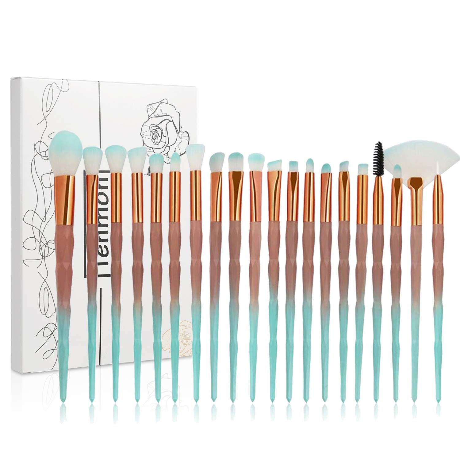 Tenmon 20pcs Unicorn Shiny Gold Diamond Makeup Brush Set with Box Professional Foundation Powder Cream Blush Brush Kits (Green)