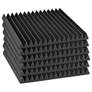 "Auralex Acoustics 2"" x 24"" x 24"" Sound Absorption Studiofoam Wedge Panels, Black - 6 Pack"