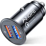 AINOPE USB Car Charger, [Dual QC3.0 Port] 36W/6A [All Metal] Fast Car Charger Adapter Mini Cigarette Lighter Usb Charger Quic