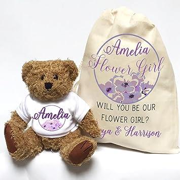 Diseño de oso de peluche con flores niña gracias bolsa de regalo y diseño de círculos