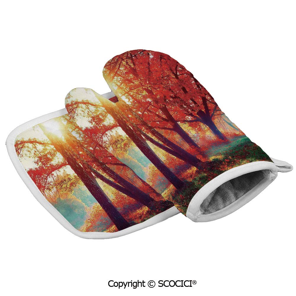SCOCICI Oven Mitts Glove - Autumnal Foggy Park Fall Nature Scenic Scenery Maple Trees Sunbeams Heat Resistant, Handle Hot Oven Cooking Items Safely