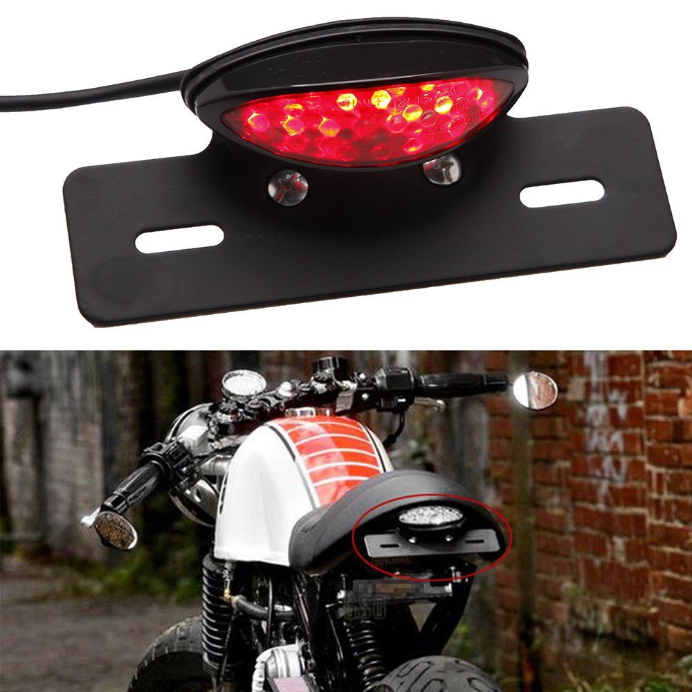 Moto LED Feux Arriè re Lampe de Clignotant d'arrê t de Frein de Queue Lampe plaque d'immatriculation pour Harley Honda Yamaha Lady Outlet Mall