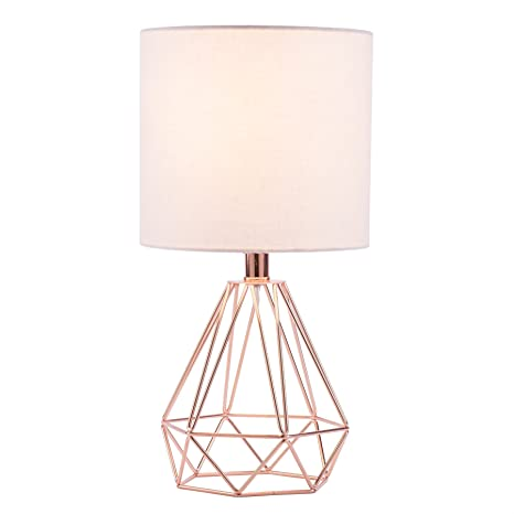 CO Z Table Lamp With White Fabric Shade, Desk Lamp With Hollowed Out Base