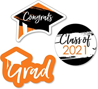 product image for Big Dot of Happiness Orange Grad - Best is Yet to Come - DIY Shaped Orange 2021 Graduation Party Cut-Outs - 24 Count