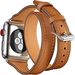 Maxjoy Compatible with Apple Watch Band, 42mm 44mm Watch Bands Leather Strap Soft Replacement Wristband with Metal Clasp Slim Bracelet Compatible with Apple iWatch Series 4 3 2 1 Sport Edition, Brown