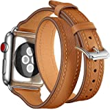Maxjoy Compatible with Apple Watch Band, 38mm 40mm 41mm Watch Bands Soft Leather Strap Replacement Wristband with Metal Clasp