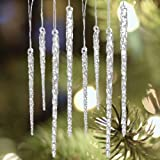 Universal Christmas Twisted Clear Glass Icicle Drop Christmas Ornaments, Perfect For Your Christmas Tree Or Accent To Any Home, Party Or Wedding
