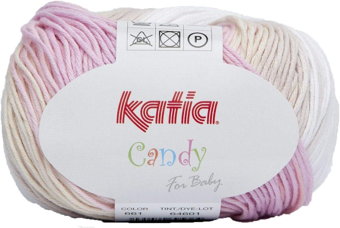 Katia - Candy - Ovillo de lana en 661 Blanco/Rosa/Beige 50 G=180 Meter, grosor 2,5 - 3: Amazon.es: Hogar