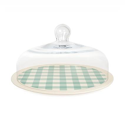 Nigella Lawson bandeja para tarta con campana de cristal, verde