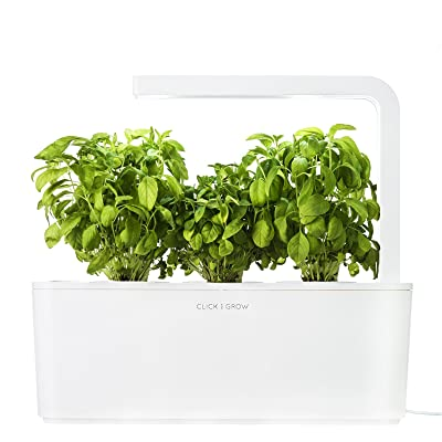 Nice Click U0026 Grow Indoor Smart Fresh Herb Garden Kit With 3 Basil Cartridges U0026  White Lid