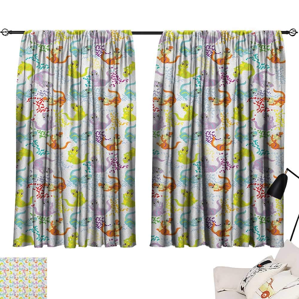Pattern14 W63  x L45  Beihai1Sun Kids Insulating Darkening Curtains Horizontally Striped Pattern with Brushstrokes Grunge and Weathered Look Curtain for Kids Room Pale bluee and Off White W63 x L45