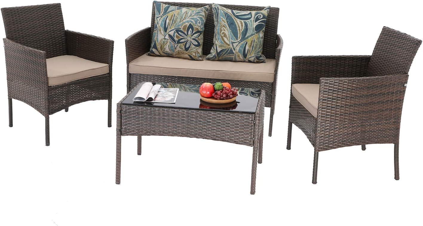 HTTH 4 Pieces Patio Porch Furniture Sets PE Rattan Wicker Chairs Washable Cushion with Tempered Glass Tabletop Porch Furniture (Brown)