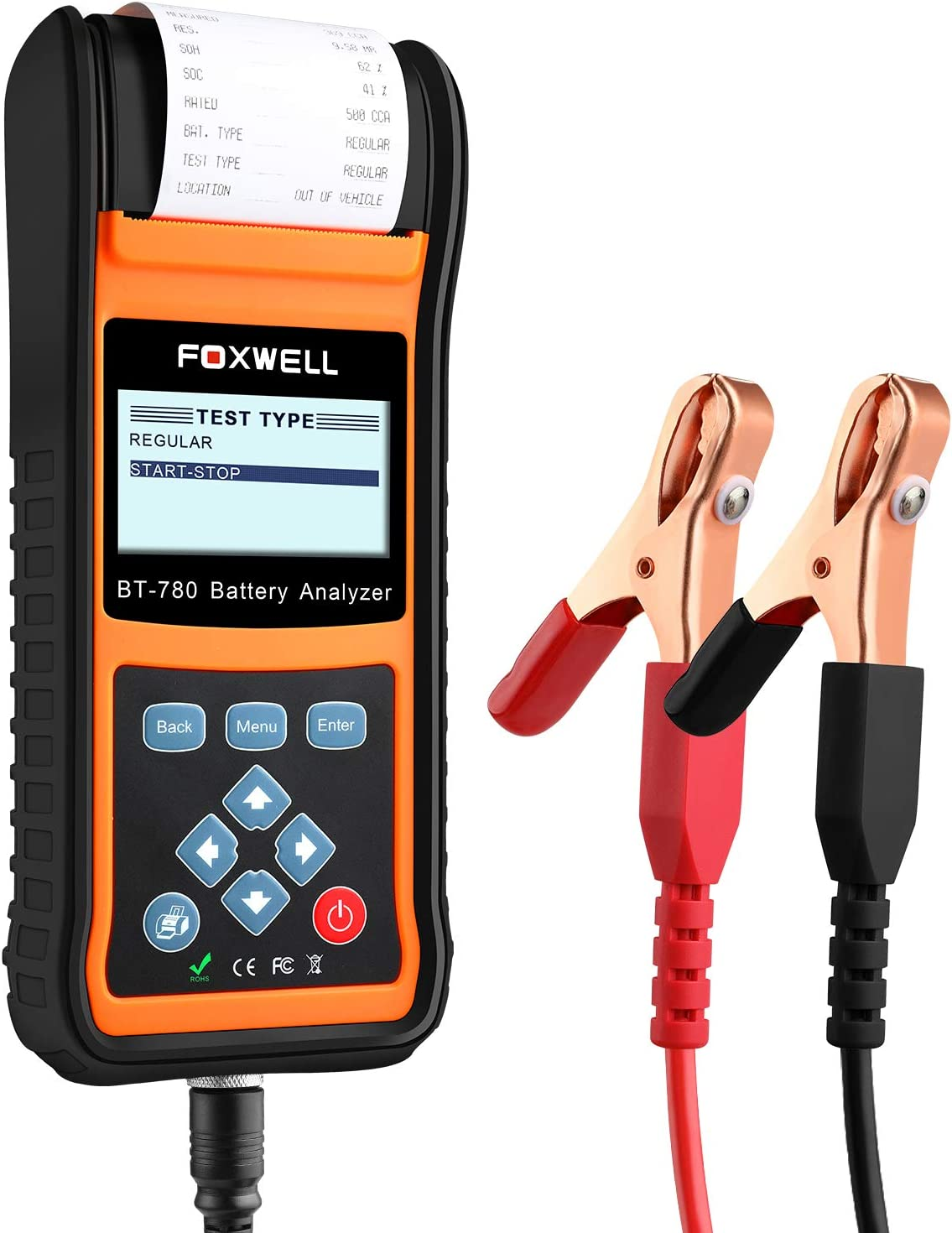 Foxwell Auto Battery Tester 12v 24v Car Battery Load Analyzer Starting And Charging System Test Tool Bt780 With Built In Thermal Printer