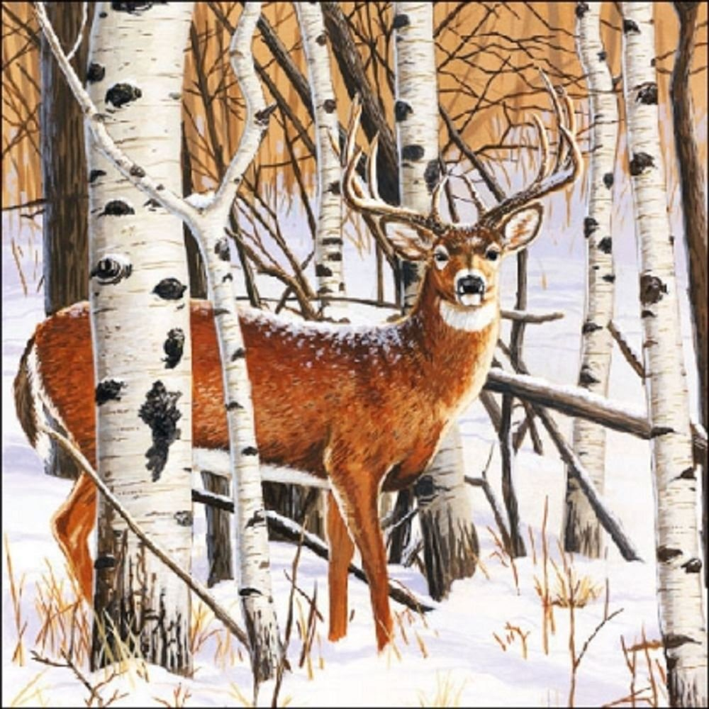 4 x Paper Christmas Napkins - Deer in Forest - Ideal for Decoupage / Napkin Art Crafty Things