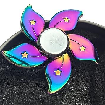 Fidget Spinner Rainbow Flower Finger Gyro Floral Star Metal Hand Spinning Toy EDC