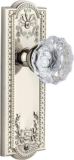 Satin Nickel Privacy 2.375 Grandeur Windsor Plate with Fontainebleau Crystal Knob