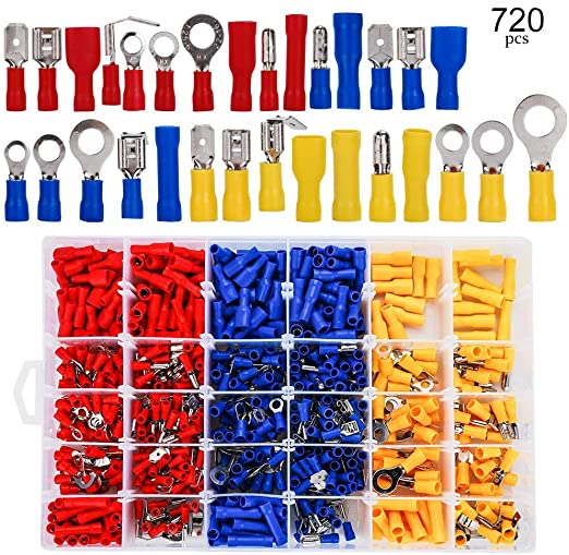 New 720PC Insulated Electrical Wire Terminals Crimp Connector Spade Assorted Kit