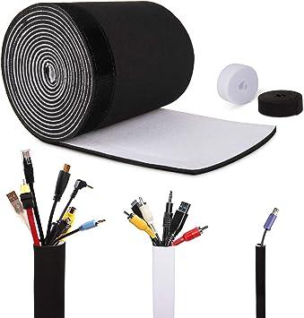 Organizador cables, 3M Universal Cortable y Ajustable Organizador para Cables Funda Con Velcro, Blanco y Negro Material Elastico Protector de Cable para Escritorio,Computadora, TV, Oficina, Mesa: Amazon.es: Bricolaje y herramientas