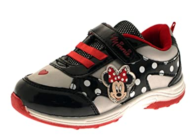 f1e078355d1 Disney Girls Minnie Mouse Hook And Loop Sports Trainers Black Silver 7 24