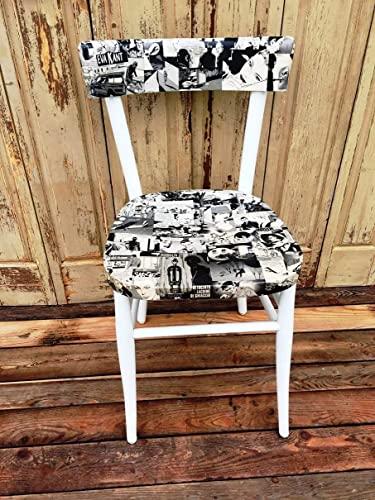 Superb White Modern Wooden Chair With Comics Decoupage Machost Co Dining Chair Design Ideas Machostcouk