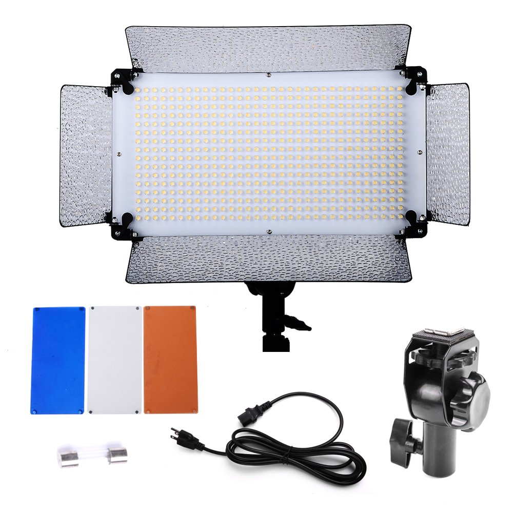 Hakutatz Portable Pro 500 LED Photo Studio Lighting dimmable Panel,Diffuser,2 Color Filters(Orange and Blue),4 Dimmer Switch for Canon Nikon Pentax Sony Panasonic Olympus and Other Digital DSLR Camera