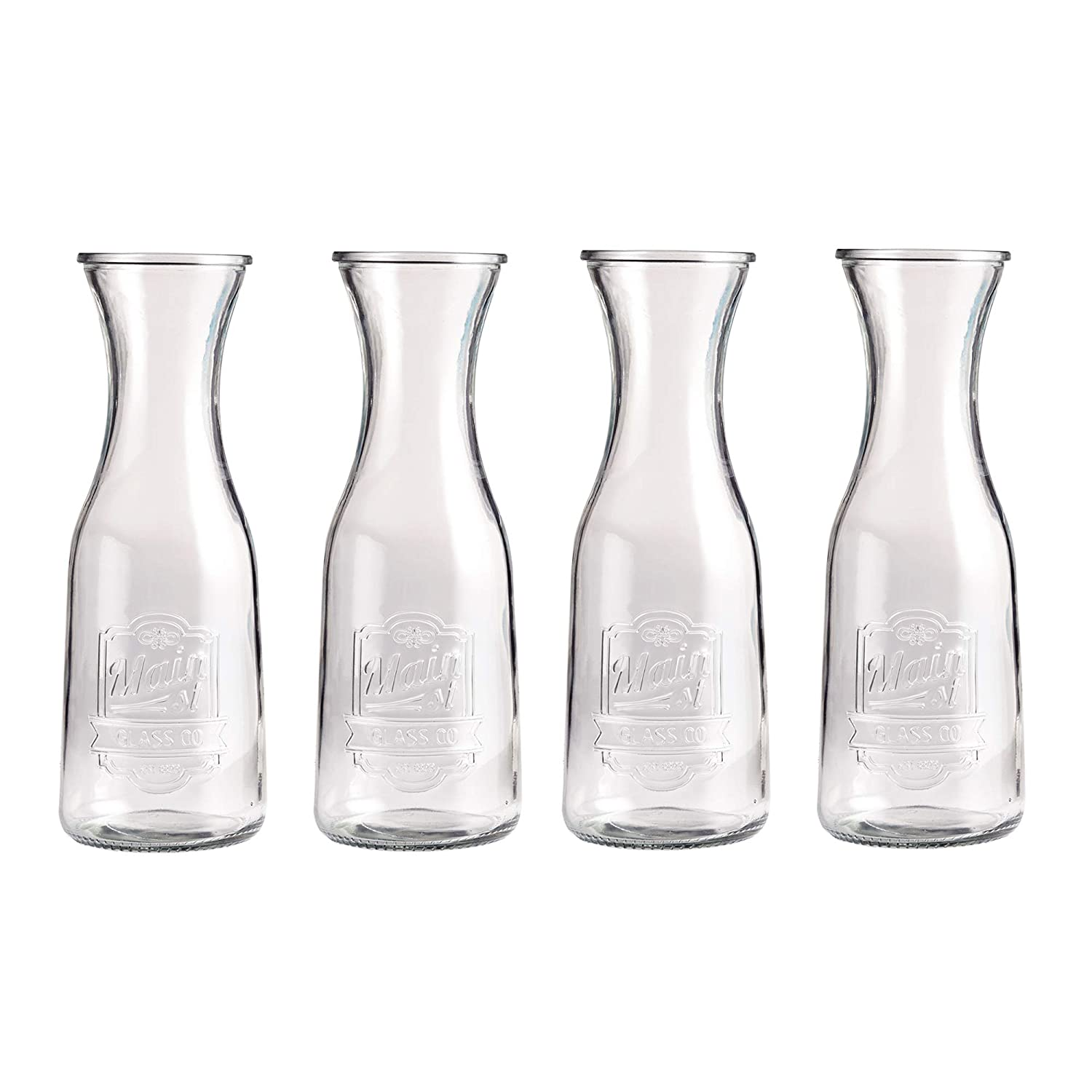 Klikel Main Street Wine & Water Carafe - Restaurant OR Home Pitcher - Set of 2 Milk Bottle - Jug Also for Juice Ice Tea Coffee Lemonade - 1 Liter Klikel Inc