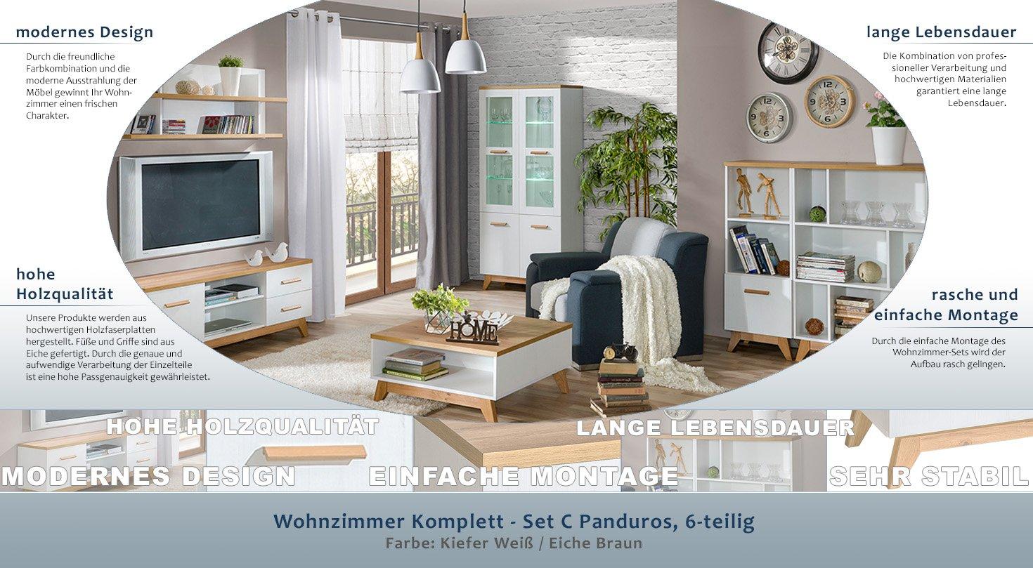 Wohnzimmer Komplett - Set C Panduros, 6-teilig, Farbe: Kiefer Weiß ...