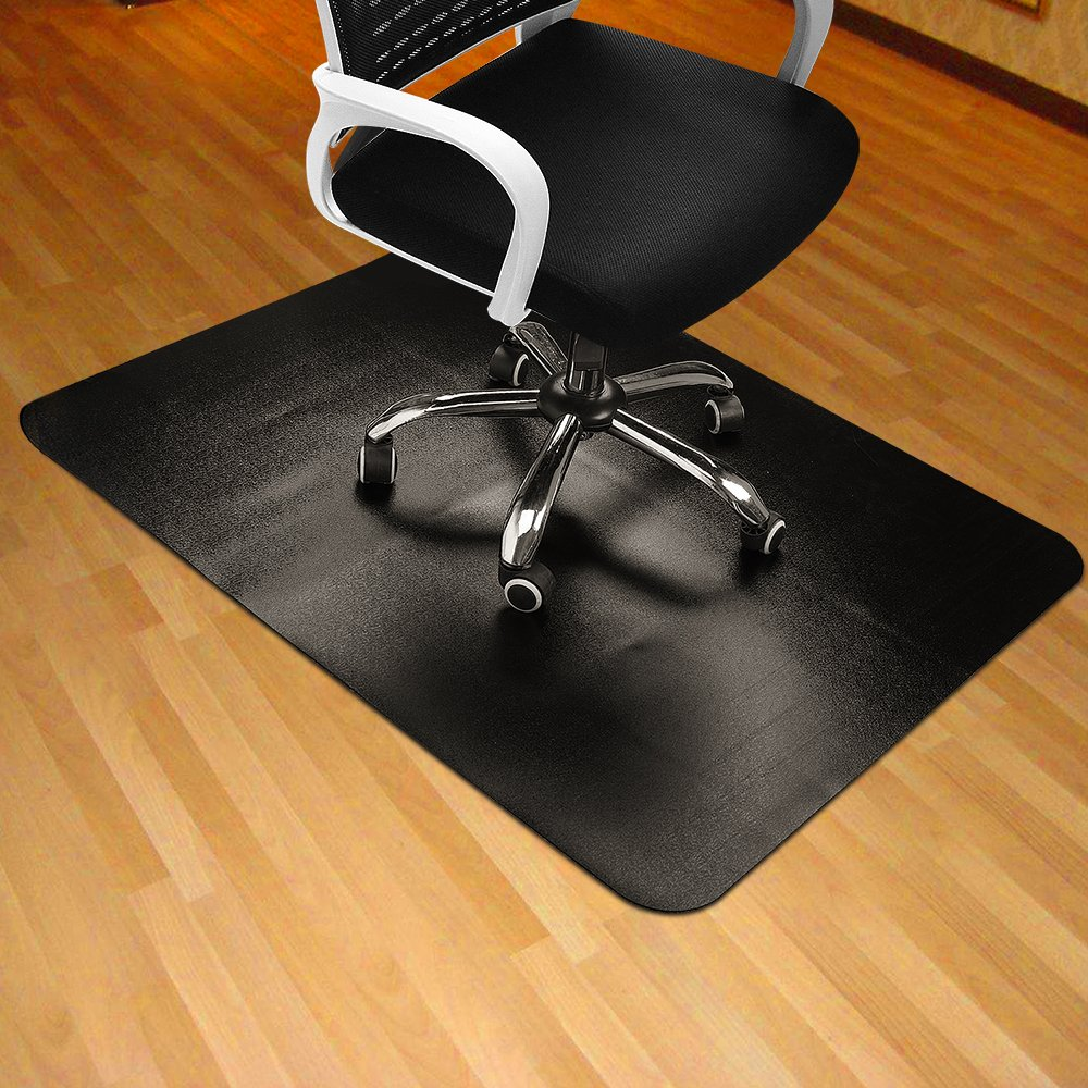 """Black Chair Mat for Hard Wood Floor 35x47"""" Rectangular Thick & Sturdy Multi-Purpose Office Chair Floor Mat for Home & Office Use"""
