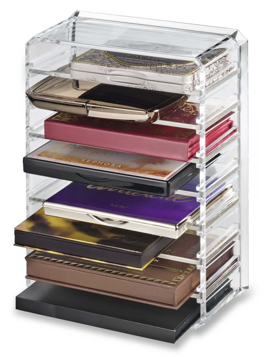 byAlegory Acrylic Makeup Palette Organiser With Removeable Dividers Designed To Stand & Lay Flat | 8 Spaces Fits Small Size Palettes PC-13-T