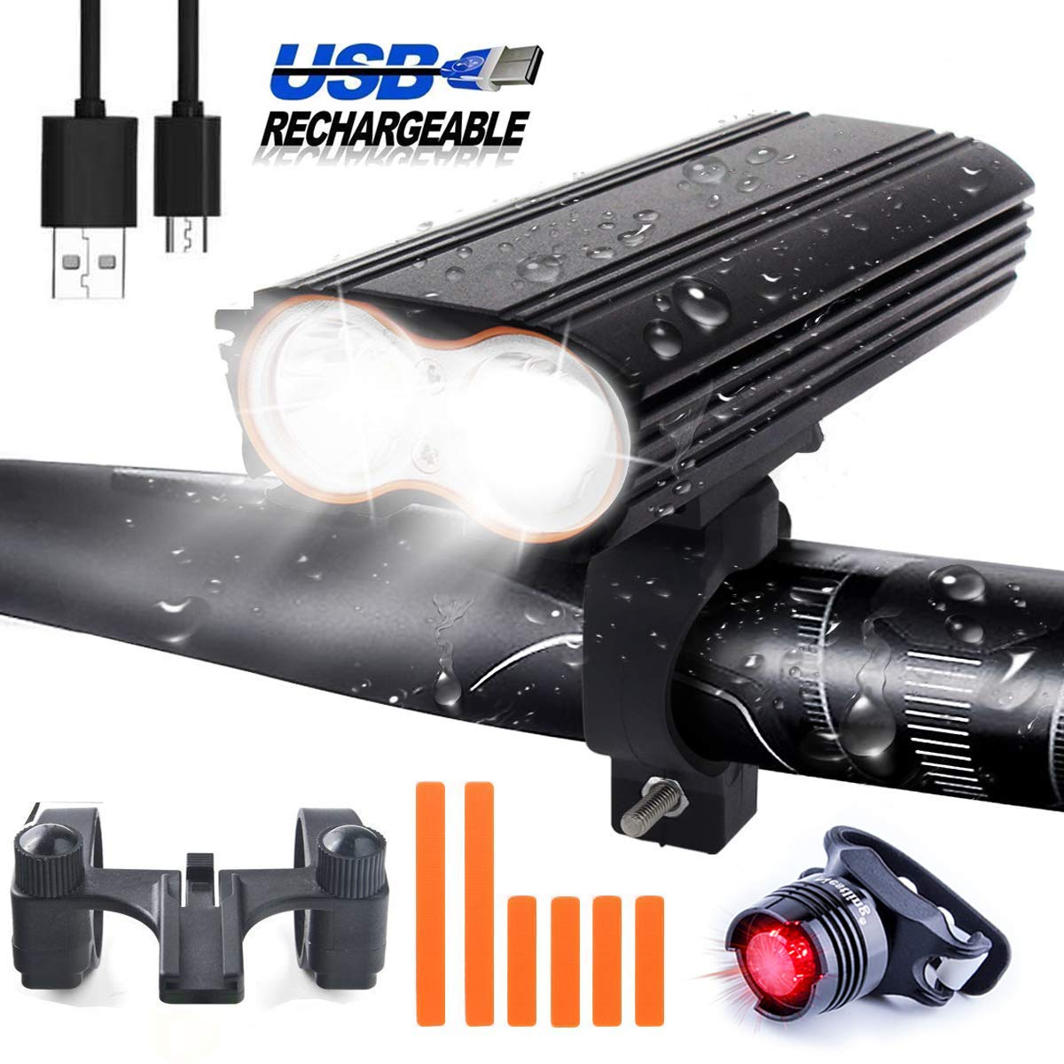LED Bicycle Light Set, USB Rechargeable 2400 Lumens 4 Light Modes LED Bike Lights Set, Bike Lamp Set incl, LED Front Light Taillight and with Detachable Buckle, Cycling Camping Outdoor Sport, IP65 Waterproof