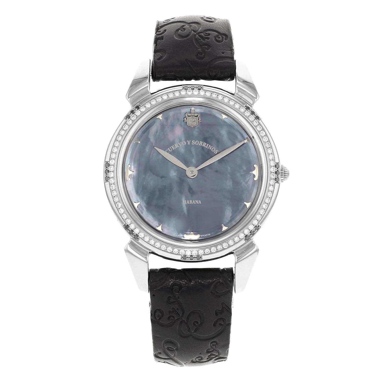 Cuervo Y Sobrinos historiador 3112 azul madre de perla diamante reloj de pulsera de mujer: Amazon.es: Relojes