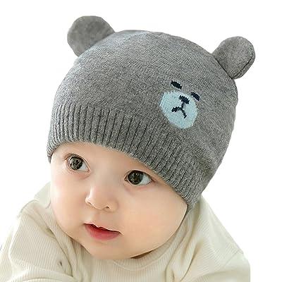 Bébé Tricot Chapeau - Belles Oreilles d'ours Casquette Mignonne Souple Extensible Chapeau pour Enfant Garçon Fille