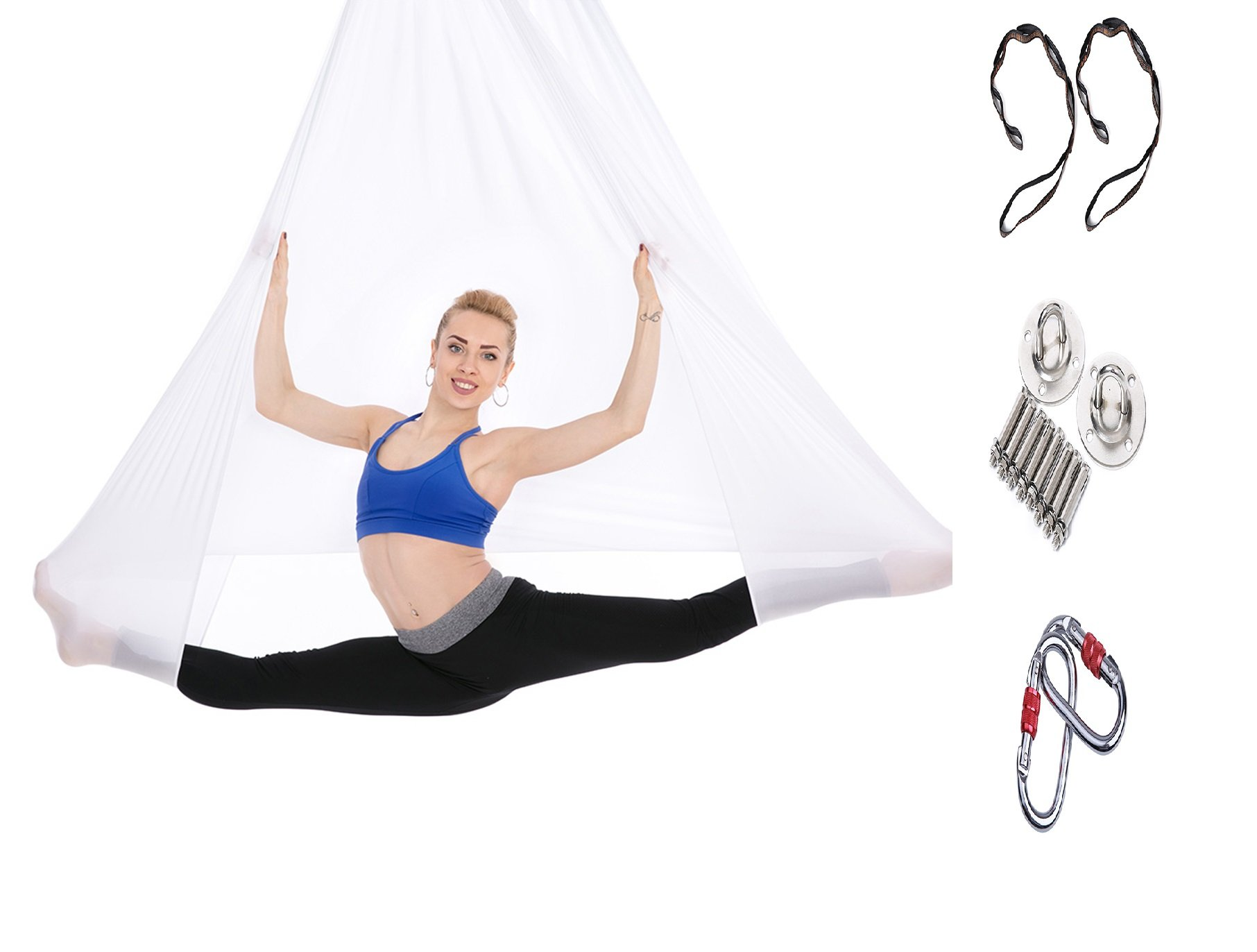 Tofern Aerial Yoga Hammock Kit 5.5 Yards Antigravity Trapeze Inversion Exercise Home Indoor Outdoor Yoga Silk Swing Sling Set with Hardware Ceiling Hooks Bolts 2 Extension Straps, White