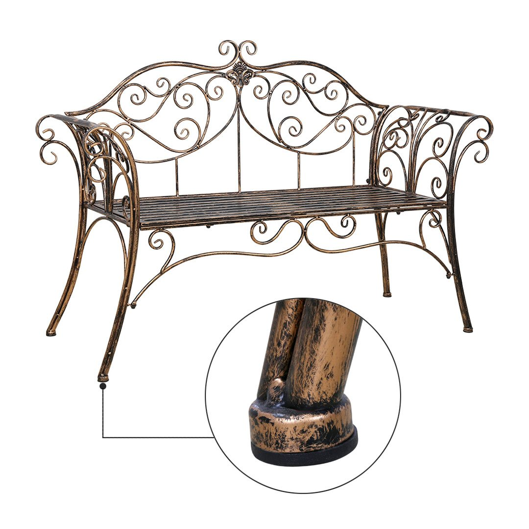 Cr Outdoor Patio Chair Garden Park Bench Metal antique garden bench with Decorative Cast Iron Backrest