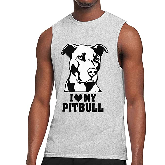 5c50ace22 I Love My Pitbull Staffy Terrier Dog Printed - Men's Cool Sleeveless T-Shirt  Cotton