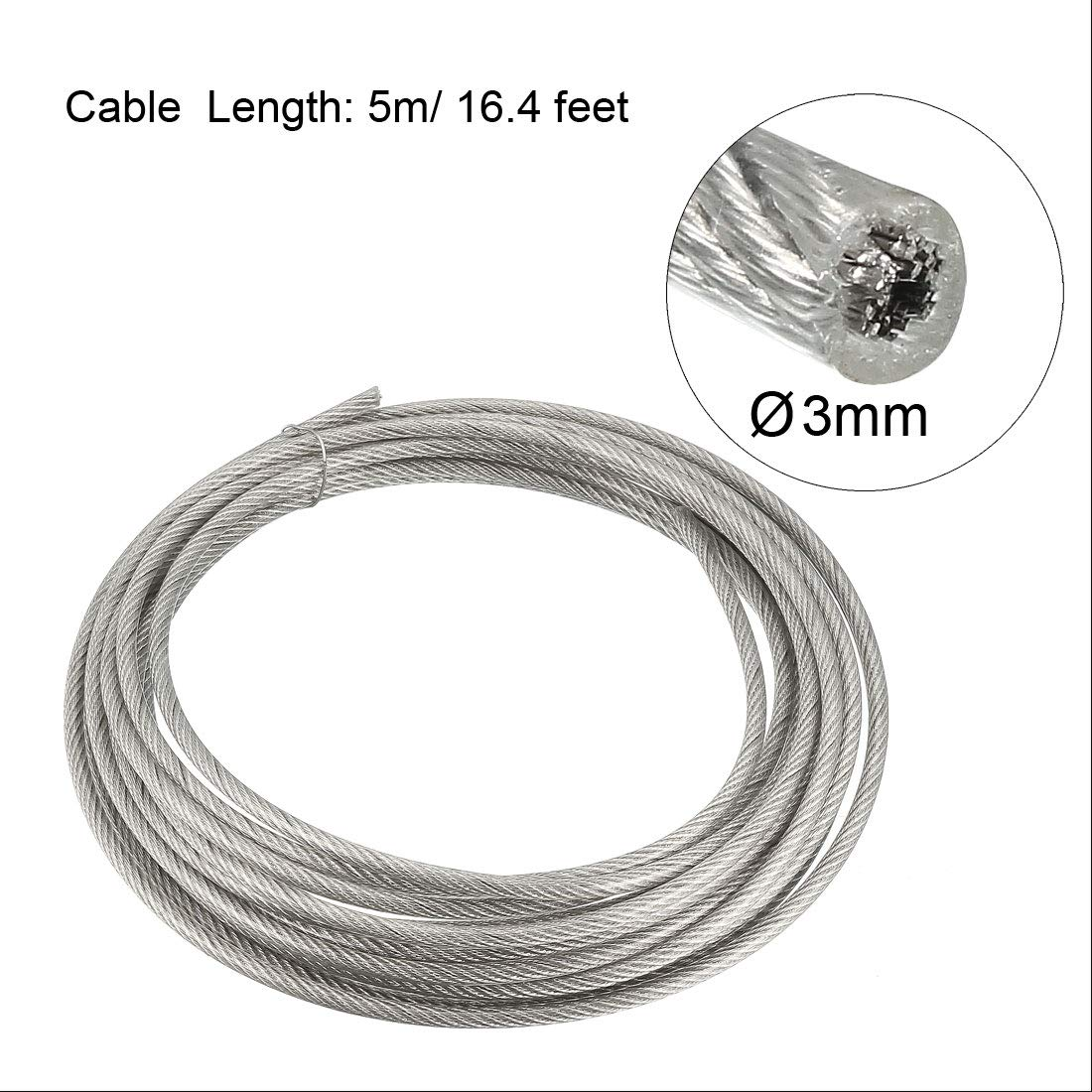 uxcell Stainless Steel Wire Rope Cable 5mm 0.2 inch Dia 32.8ft 10m Length 6 Gauge 304 Grade PVC Coated for Hoist Lifting Grinder Pulley Wheel