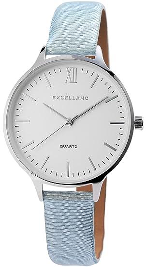 Reloj mujer Blanco Azul Plata Números Romanos analógico de cuarzo piel Reloj de pulsera