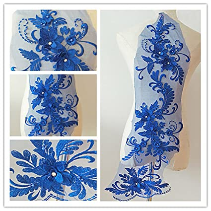 Image Unavailable. Image not available for. Color  3D beaded flower  sequence lace applique ... 1b8d859d4156